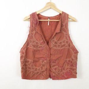 Free People Battenburg Rust Tie Dye Lace Vest